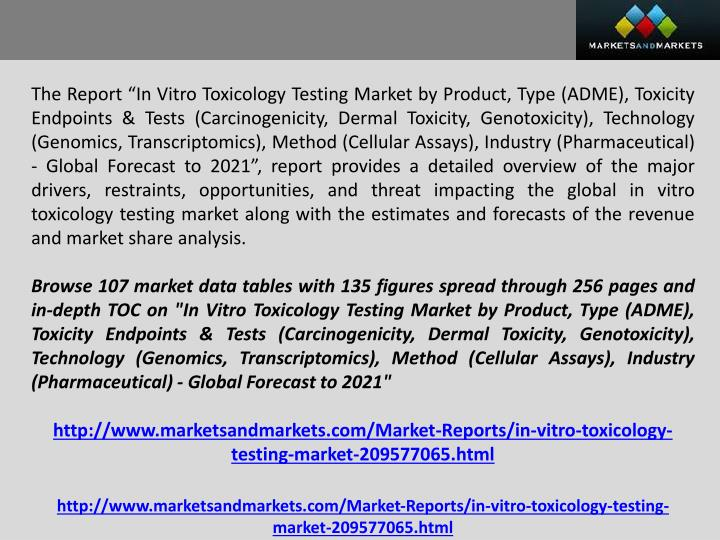 "The Report ""In Vitro Toxicology Testing Market by Product, Type (ADME), Toxicity Endpoints & Tests..."