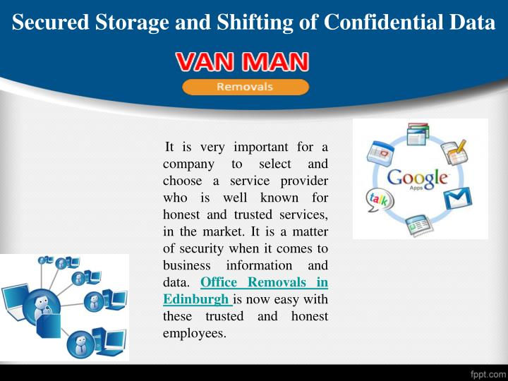 Secured storage and shifting of confidential data