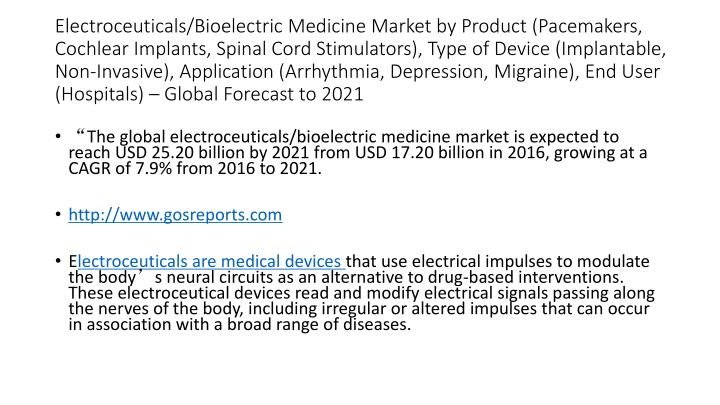 Electroceuticals/Bioelectric Medicine Market by Product (Pacemakers, Cochlear Implants, Spinal Cord Stimulators), Type of Device (Implantable, Non-Invasive), Application (Arrhythmia, Depression, Migraine), End User (Hospitals) – Global Forecast to 2021