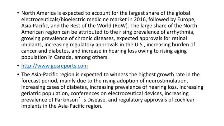 North America is expected to account for the largest share of the global electroceuticals/bioelectric medicine market in 2016, followed by Europe, Asia-Pacific, and the Rest of the World (RoW). The large share of the North American region can be attributed to the rising prevalence of arrhythmia, growing prevalence of chronic diseases, expected approvals for retinal implants, increasing regulatory approvals in the U.S., increasing burden of cancer and diabetes, and increase in hearing loss owing to rising aging population in Canada, among others.