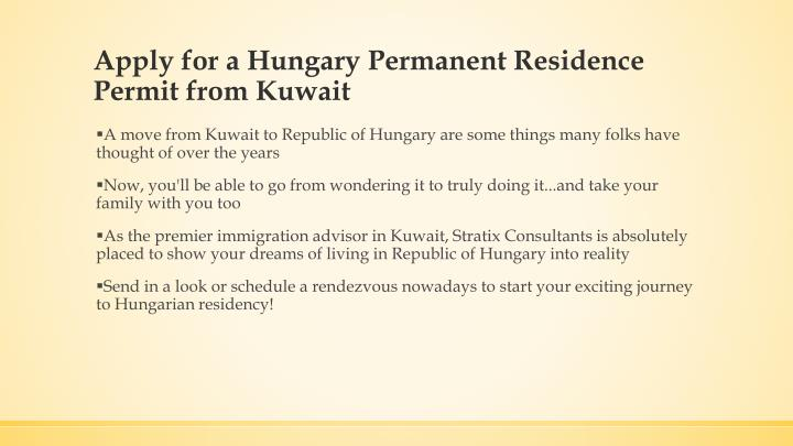 Apply for a Hungary Permanent Residence Permit from Kuwait