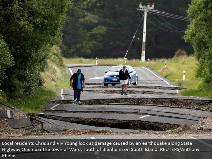 Local occupants Chris and Viv Young take a gander at harm brought on by a quake along State Highway One close to the town of Ward, south of Blenheim on South Island. REUTERS/Anthony Phelps