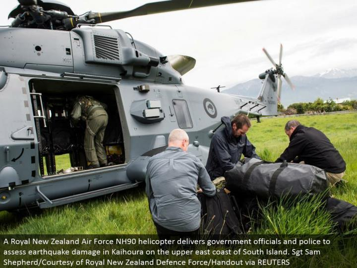 A Royal New Zealand Air Force NH90 helicopter conveys government authorities and police to survey tremor harm in Kaihoura on the upper east bank of South Island. Sgt Sam Shepherd/Courtesy of Royal New Zealand Defense Force/Handout by means of REUTERS