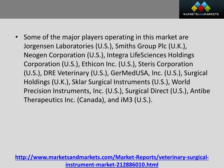 Some of the major players operating in this market are Jorgensen Laboratories (U.S.), Smiths Group Plc (U.K.),