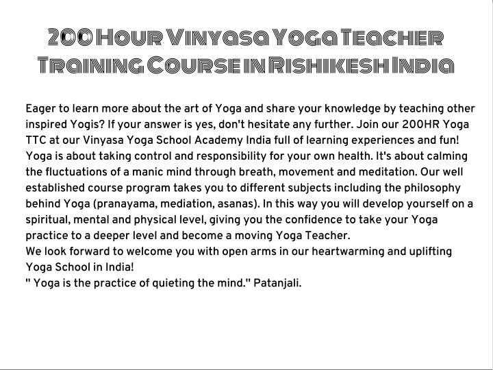 200 Hour Vinyasa Yoga Teacher