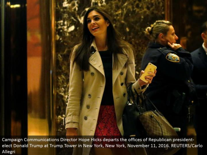 Campaign Communications Director Hope Hicks withdraws the workplaces of Republican president-elect Donald Trump at Trump Tower in New York, New York, November 11, 2016. REUTERS/Carlo Allegri