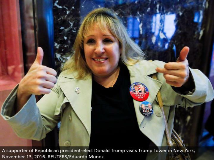 A supporter of Republican president-elect Donald Trump visits Trump Tower in New York, November 13, 2016. REUTERS/Eduardo Munoz