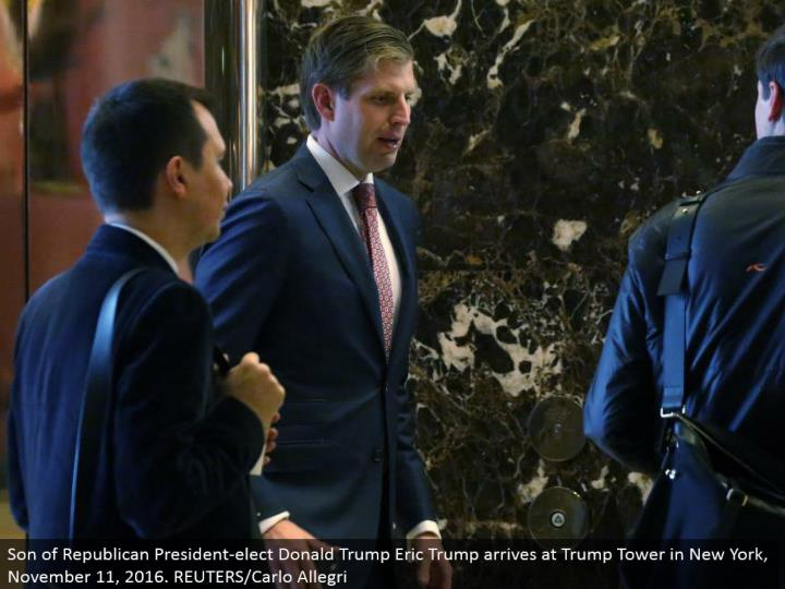 Son of Republican President-elect Donald Trump Eric Trump touches base at Trump Tower in New York, November 11, 2016. REUTERS/Carlo Allegri