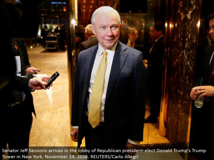Senator Jeff Sessions touches base in the entryway of Republican president-elect Donald's Trump Tower in New York, November 14, 2016. REUTERS/Carlo Allegri