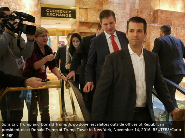 Sons Eric Trump and Donald Trump Jr. go down lifts outside workplaces of Republican president-elect Donald Trump at Trump Tower in New York, November 14, 2016. REUTERS/Carlo Allegri
