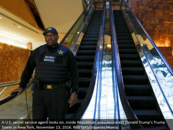 A U.S. mystery benefit operator looks on, inside Republican president-elect Donald's Trump Tower in New York, November 13, 2016. REUTERS/Eduardo Munoz