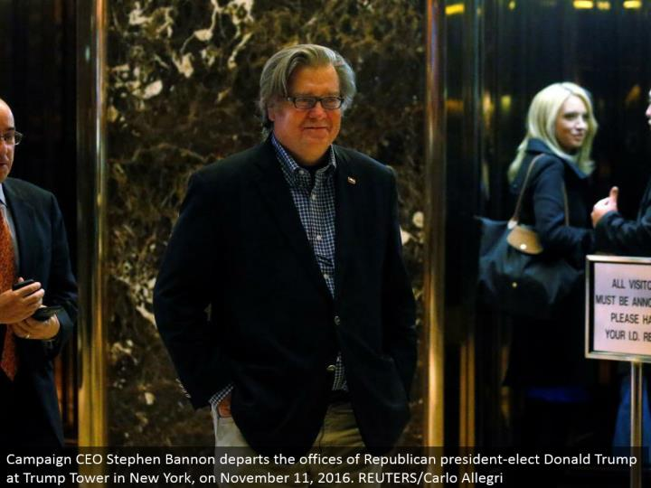 Campaign CEO Stephen Bannon withdraws the workplaces of Republican president-elect Donald Trump at T...