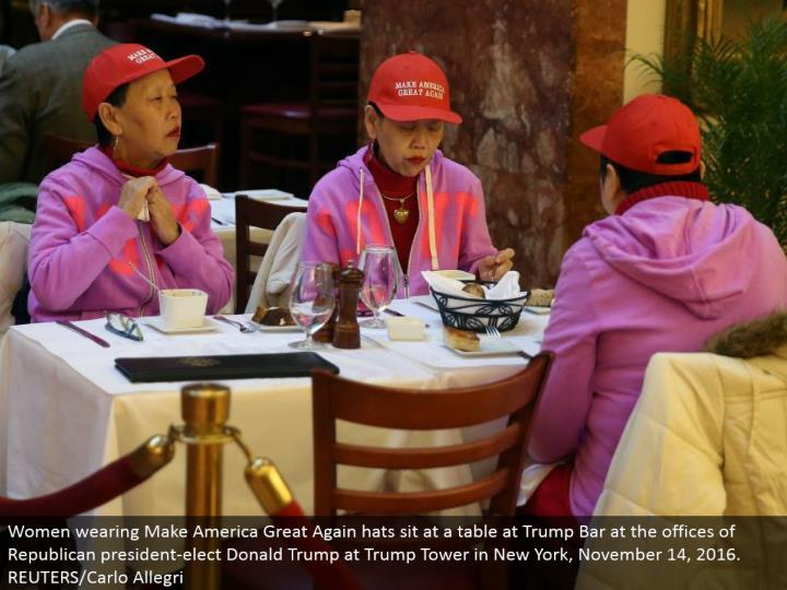 Women wearing Make America Great Again caps sit at a table at Trump Bar at the workplaces of Republican president-elect Donald Trump at Trump Tower in New York, November 14, 2016. REUTERS/Carlo Allegri
