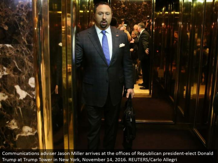 Communications counselor Jason Miller touches base at the workplaces of Republican president-elect Donald Trump at Trump Tower in New York, November 14, 2016. REUTERS/Carlo Allegri