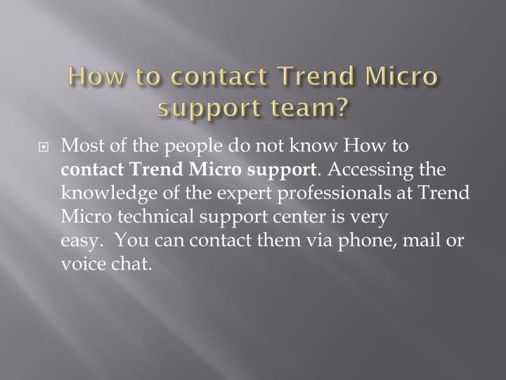 How to contact Trend Micro support team