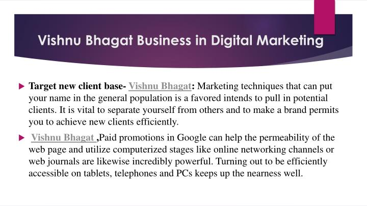 Vishnu Bhagat Business in Digital Marketing
