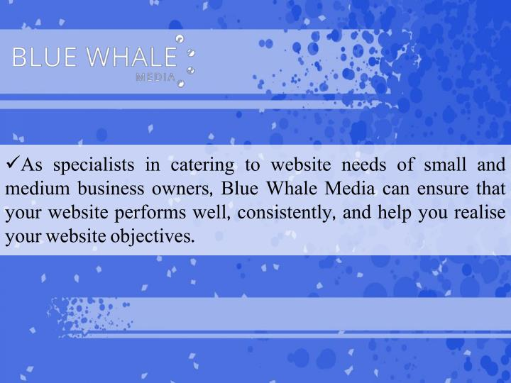 As specialists in catering to website needs of small and medium business owners, Blue Whale Media can ensure that your website performs well, consistently, and help you realise your website objectives.