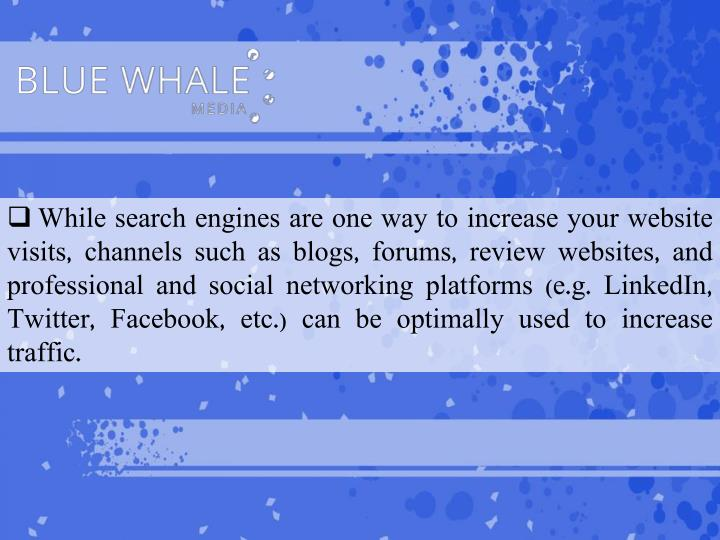 While search engines are one way to increase your website visits, channels such as blogs, forums, review websites, and professional and social networking platforms (e.g. LinkedIn, Twitter,