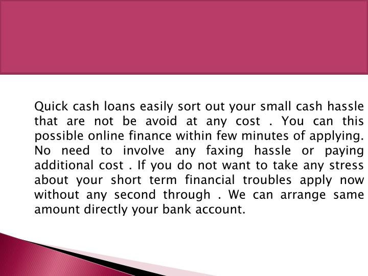 Quick cash loans easily sort