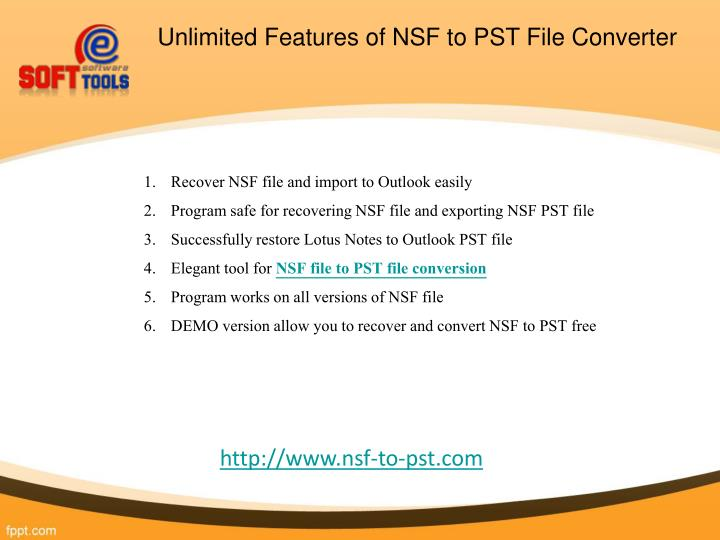 Unlimited features of nsf to pst file converter