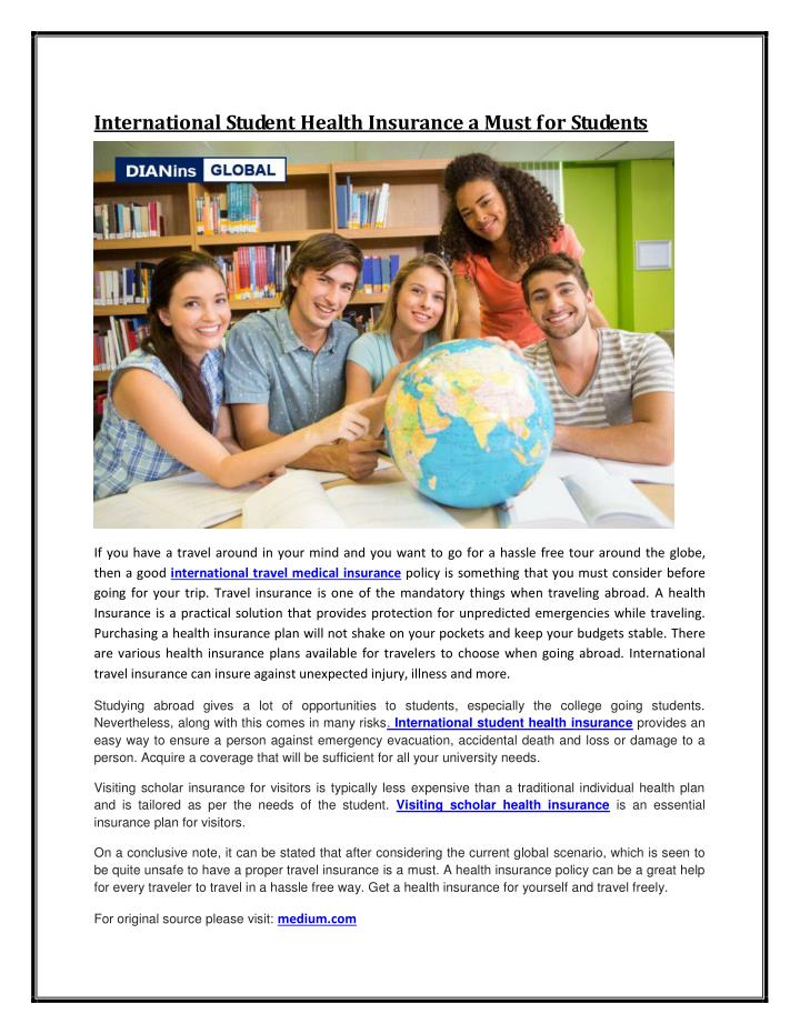 International Student Health Insurance a Must for Students