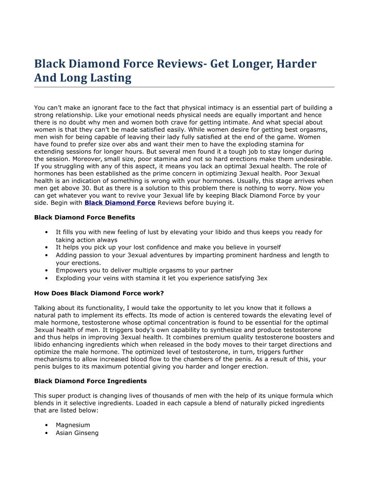 Black Diamond Force Reviews- Get Longer, Harder