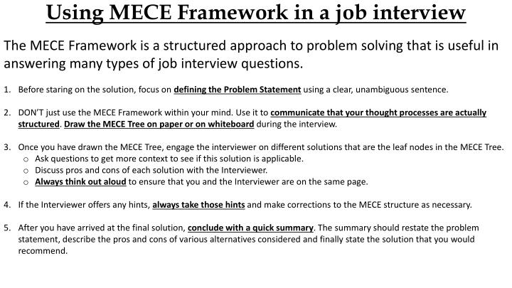 Using MECE Framework in a job interview