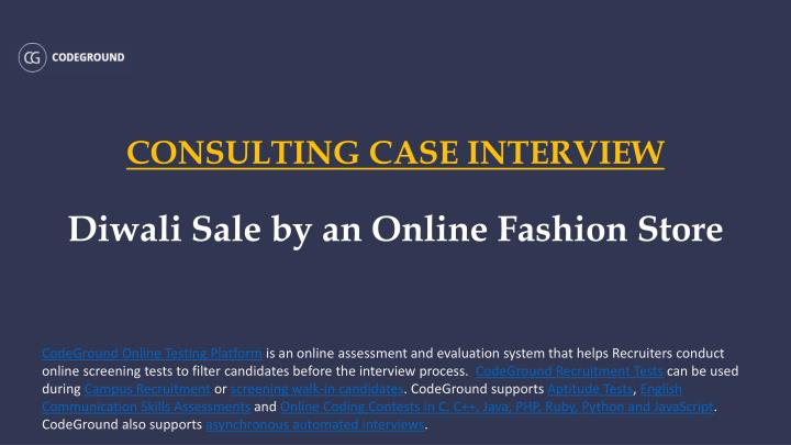 Consulting case interview diwali sale by an online fashion store