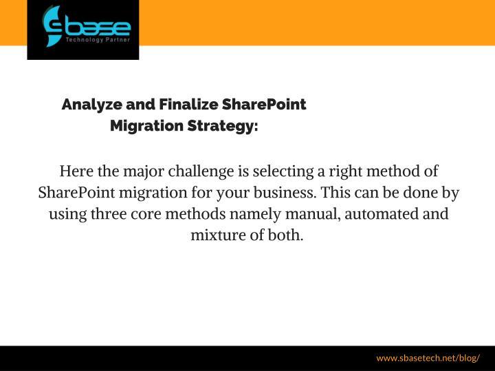 Analyze and Finalize SharePoint