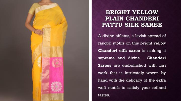 Bright yellow plain chanderi