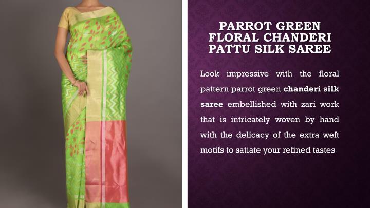 Parrot Green Floral Chanderi
