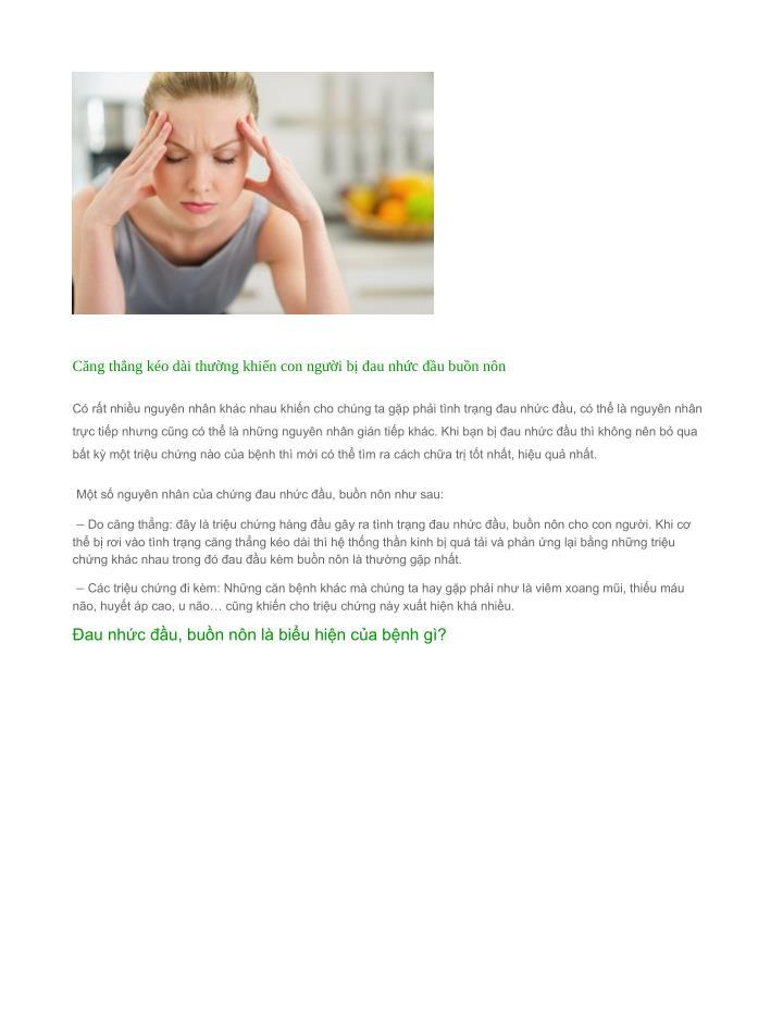 Căng thẳng kéo dài thường khiến con người bị đau nhức đầu buồn nôn