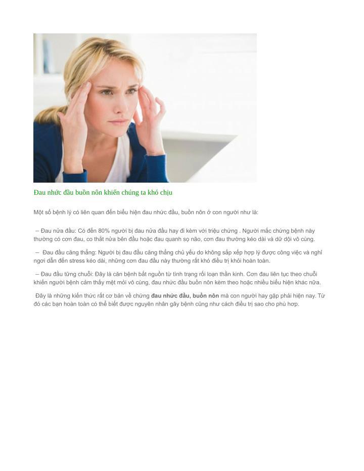 Đau nhức đầu buồn nôn khiến chúng ta khó chịu