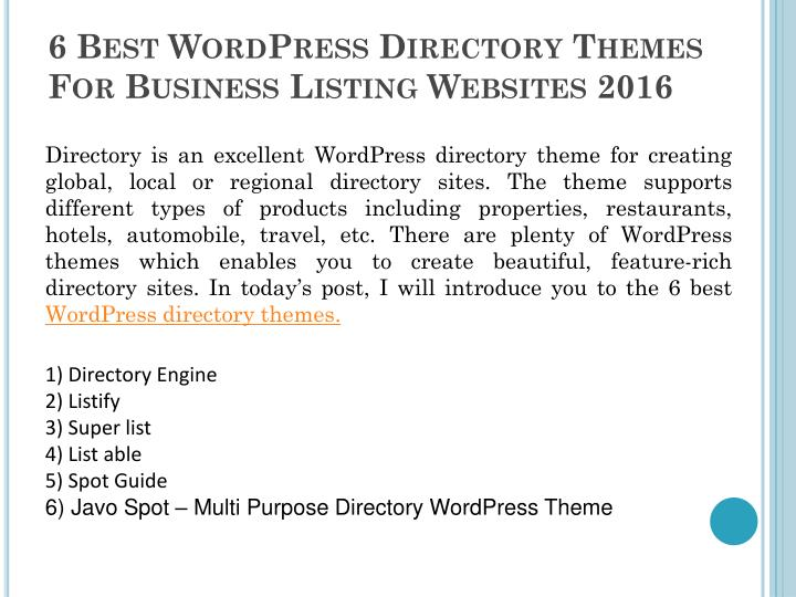 6 best wordpress directory themes for business listing websites 2016