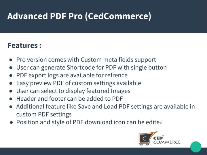 Advanced PDF Pro (CedCommerce)