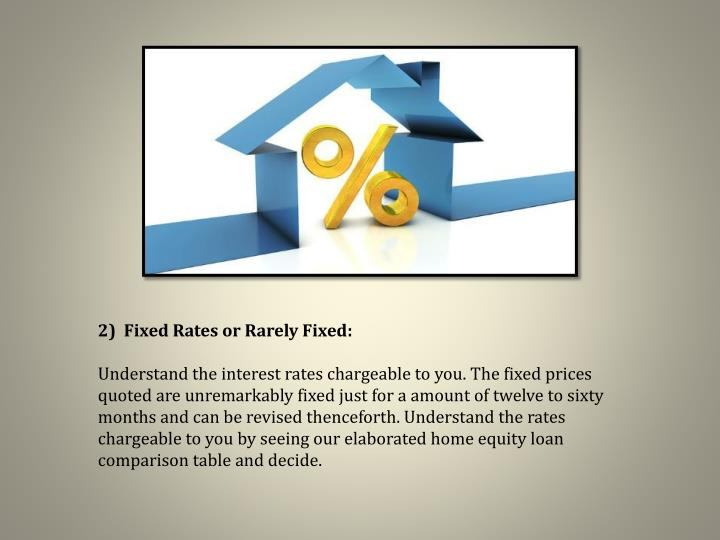 2)  Fixed Rates or Rarely Fixed