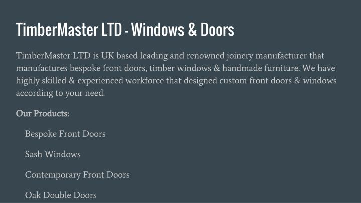 Timbermaster ltd windows doors