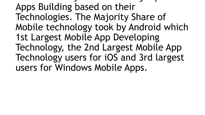 There are various Smart phone Users using various Operating Systems for their Smart Phones like Android, iOS, Windows and Blackberry where the major part of Apps Building based on their Technologies. The Majority Share of Mobile technology took by Android which 1st Largest Mobile App Developing Technology, the 2nd Largest Mobile App Technology users for iOS and 3rd largest users for Windows Mobile Apps.