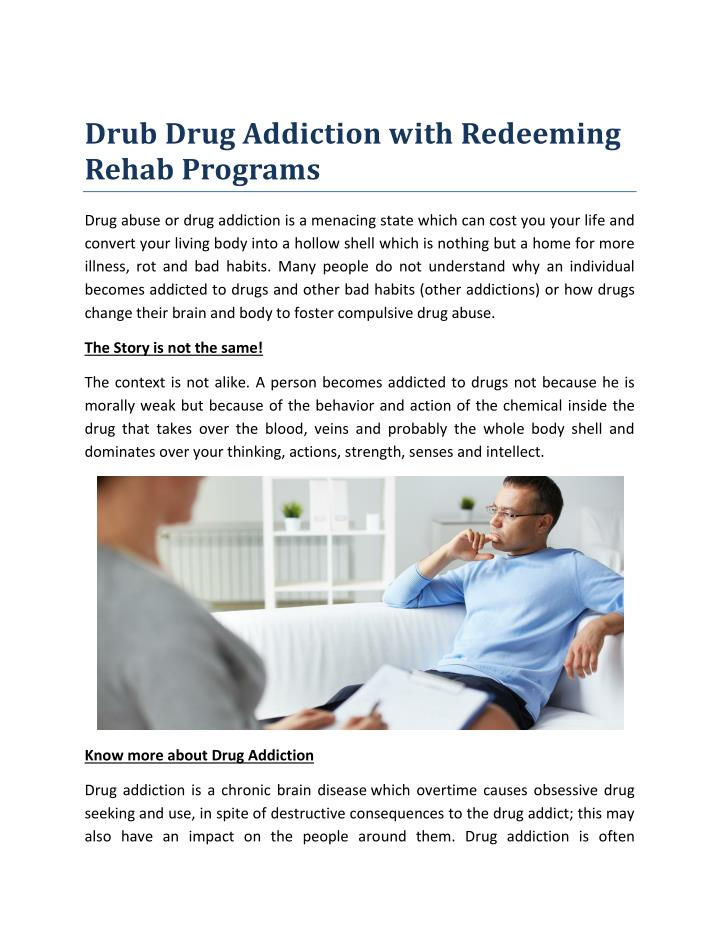 Drub Drug Addiction with Redeeming