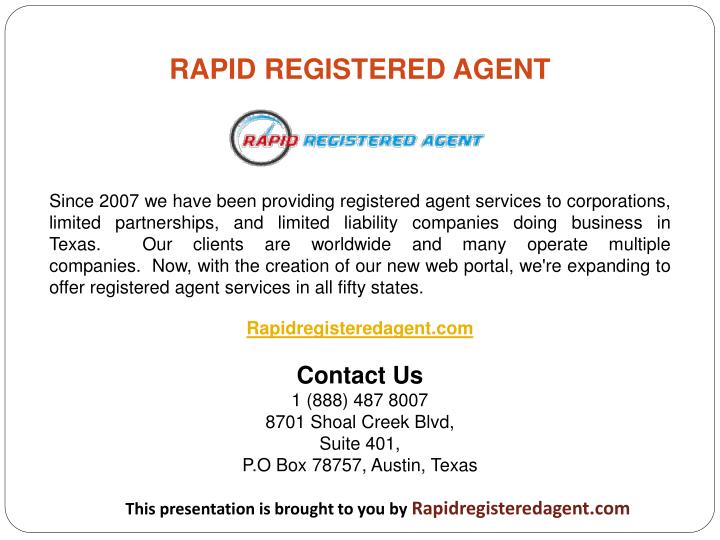 RAPID REGISTERED AGENT
