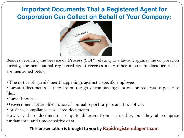 Important Documents That a Registered Agent for Corporation Can Collect on Behalf of Your Company: