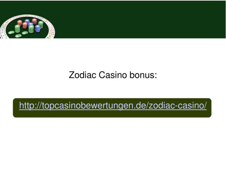 Zodiac Casino bonus: