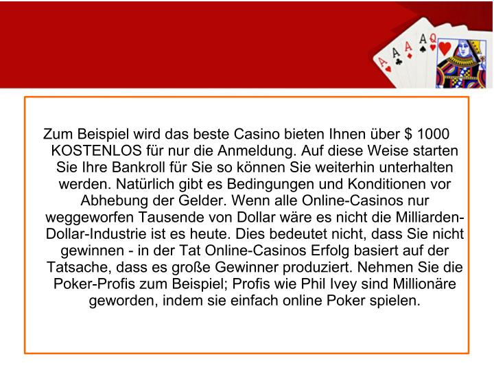 Zum Beispiel wird das beste Casino bieten Ihnen über $ 1000