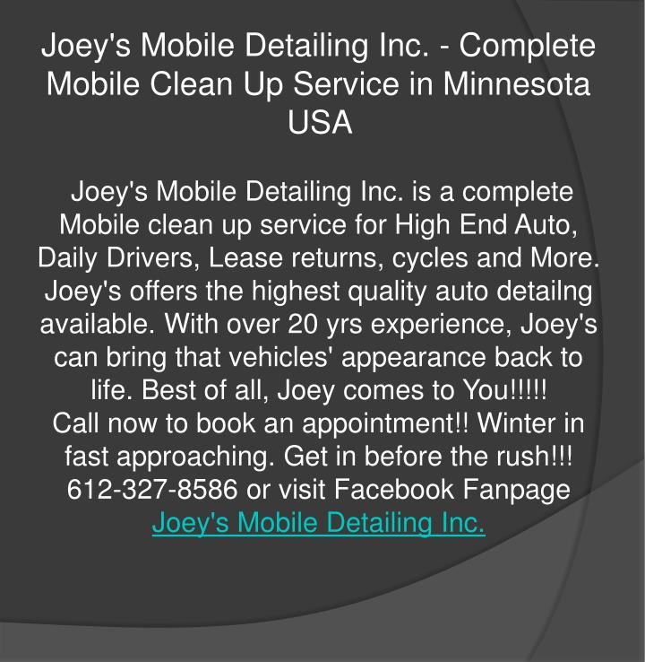 Joey's Mobile Detailing Inc. - Complete Mobile Clean Up Service in Minnesota USA