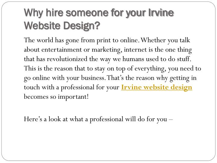 Why hire someone for your Irvine Website Design