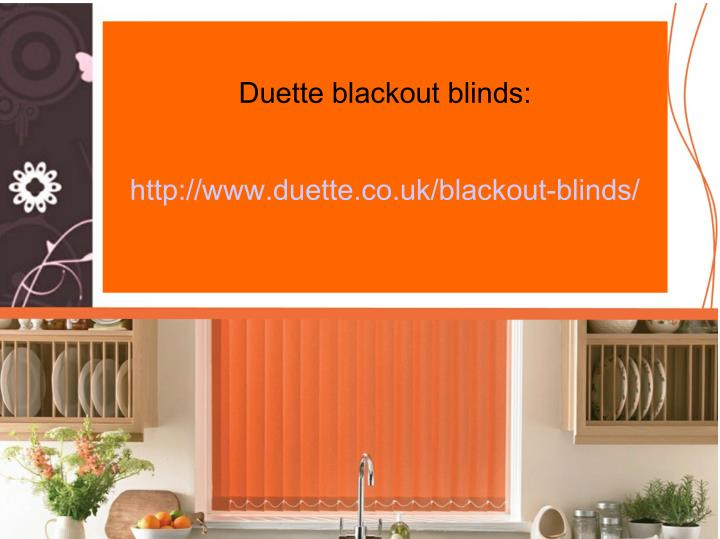 Duette blackout blinds: