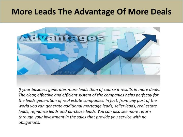 More Leads The Advantage Of More Deals