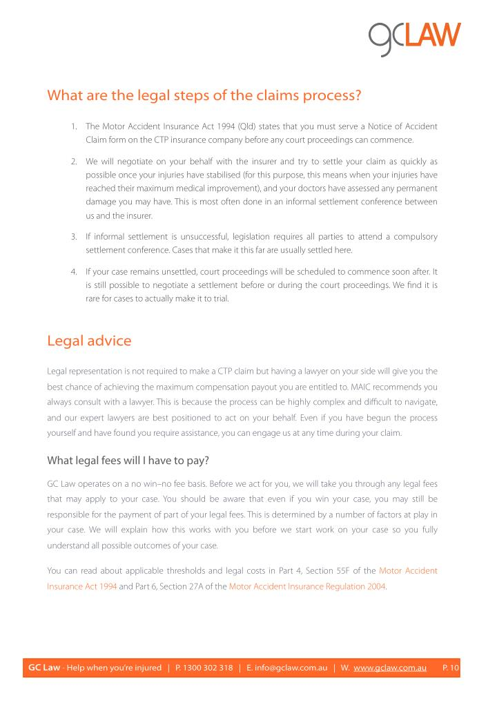 What are the legal steps of the claims process?
