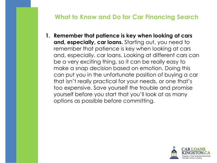 What to Know and Do for Car Financing Search
