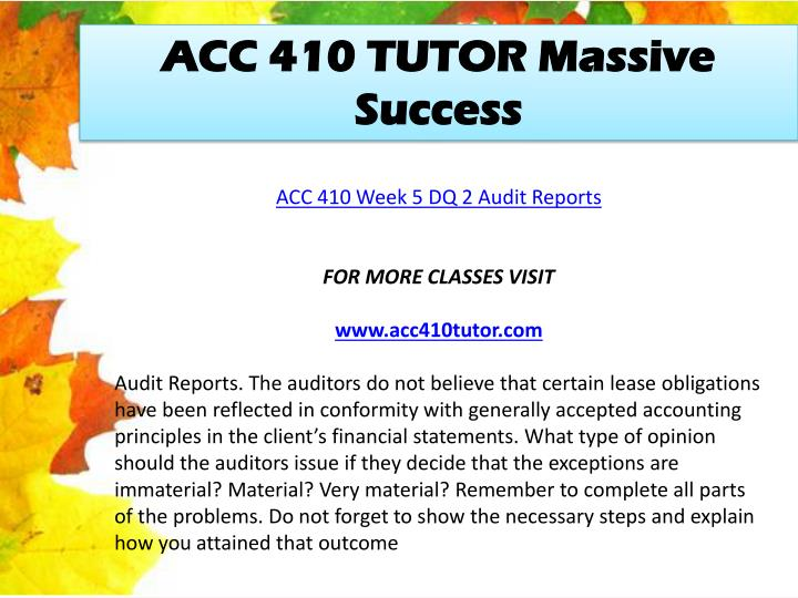 ACC 410 TUTOR Massive Success